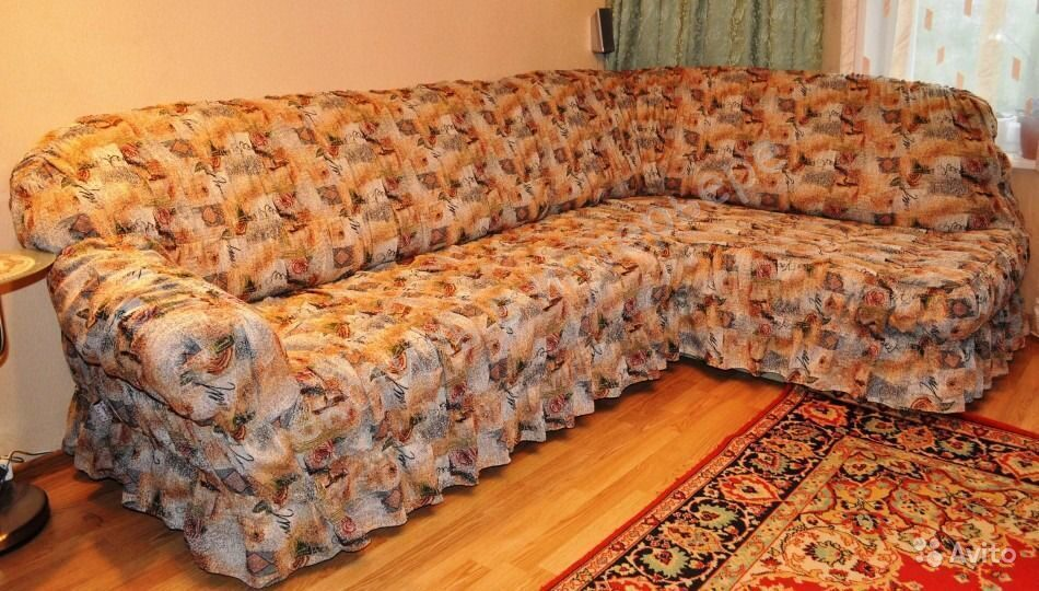 Фото чехла на угловой диван своими руками